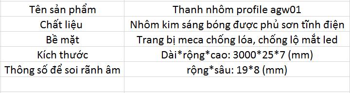 Thanh nhôm profile agw01