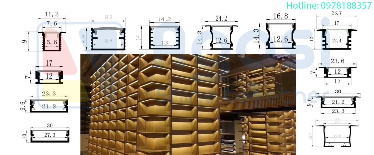 Các mẫu thanh nhôm định hình chuyên sử dựng để làm hệ đèn led trong